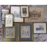 Selection of etchings and engravings inc Thornton Priory, Le Chat Cheri and Les Enfans Physiciens
