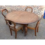 Victorian mahogany dining table 150cm by 120cm & 4 balloon back chairs