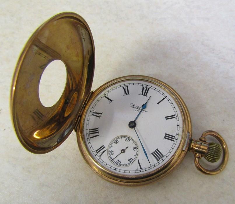9ct gold half hunter Waltham pocket watch (glass broken), Birmingham 1926, engraved to Jos Chapman