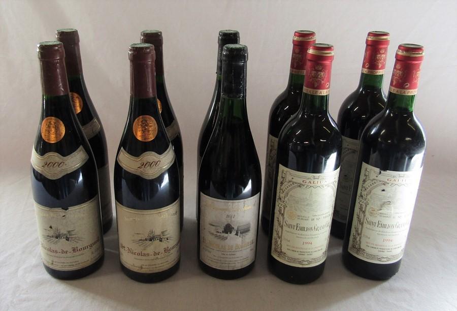 10 bottles of wine - 4 x St Nicolas de Bourgueil 2000, 2 x 2001 and 4 x Galius Saint Emilion Grand