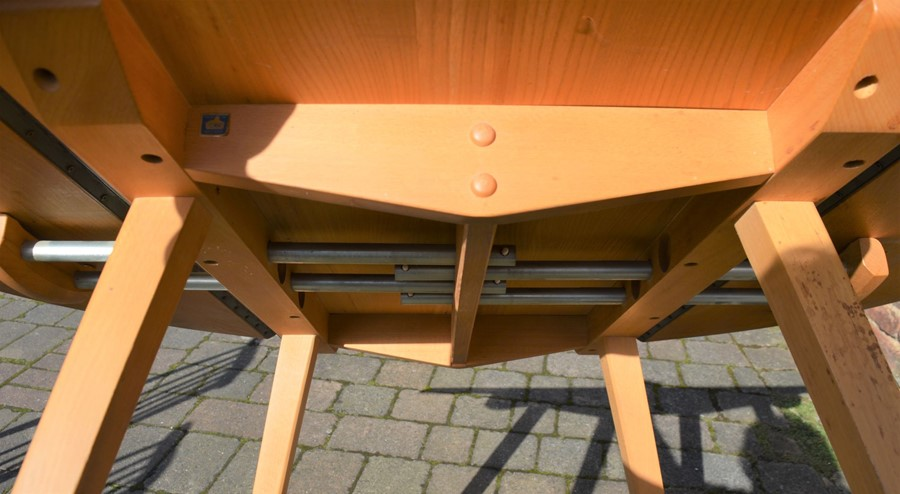 Ercol drop leaf table (marked top) 112cm by 124cm & 4 Ercol comb back chairs - Image 6 of 6