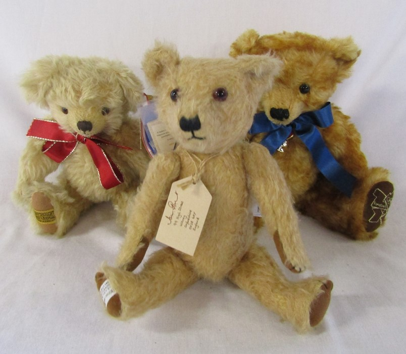 3 Merrythought teddy bears inc London 2012 no 740 of a special edition H 32 cm and Timmy the teddy