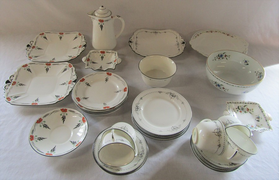 Various Shelley part tea sets inc poppy design c.1930s