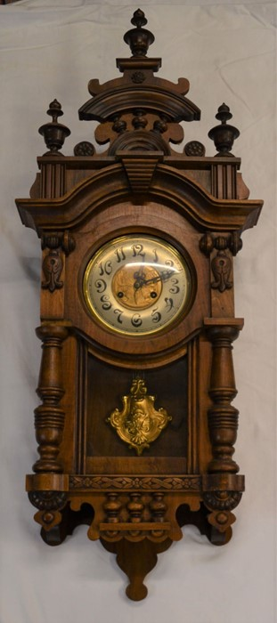 Vienna regulator wall clock with 2 train spring driven movement with butterfly decorated dial & an