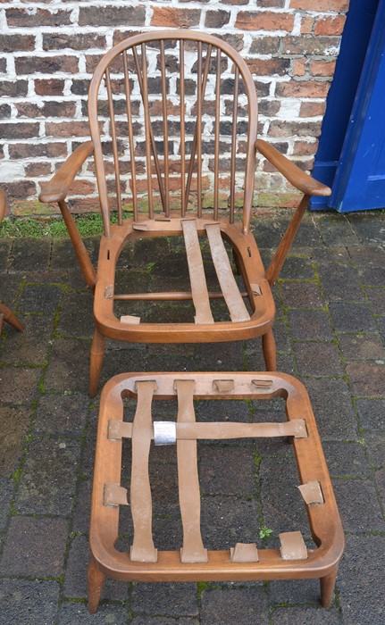 Spindle back Ercol sofa, chair and footstool all without upholstery - Image 3 of 7
