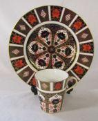 Royal Crown Derby imari pattern 1128 plate, 1st quality, D 27 cm and old imari pattern 1128 mug, 1st