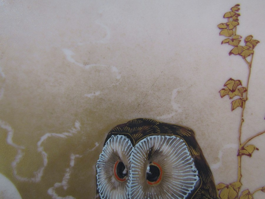 Hand painted wall plaque decorated with owls, with T Goode & Co South Audley Street London Grosvenor - Image 7 of 9