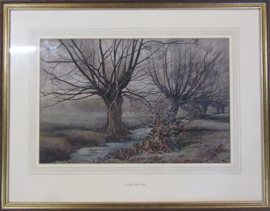 Conway Lloyd Jones (1846-1897) framed watercolour landscape of a tree lined stream 71 cm x 56 cm (