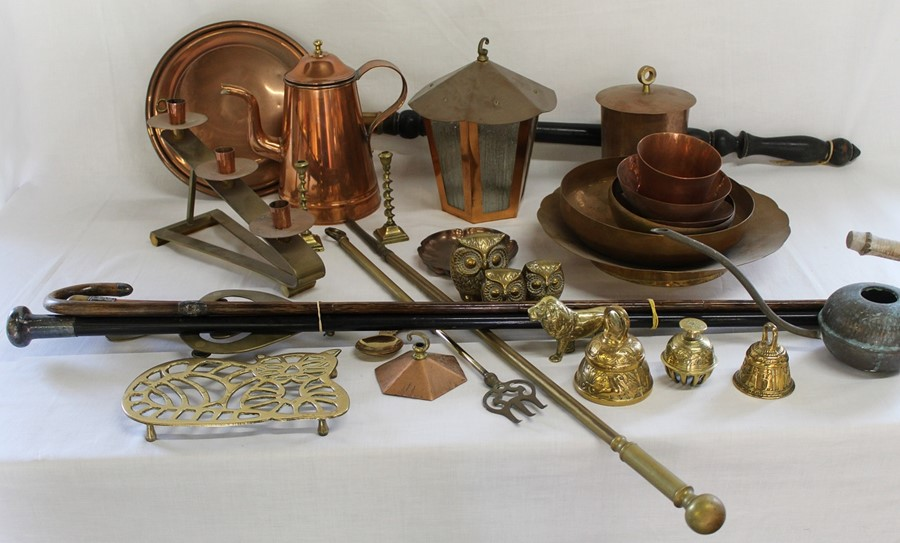 Selection of brass and copper including telescopic toasting fork, warming pan, trivets, child's