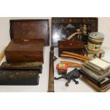 Papier mache glove boxes, Victorian mahogany writing slope (distressed), rosewood jewellery box,