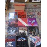 48 hard rock / prog rock albums / LPs including Saxon, Slade, Status Quo, Humble Pie, Van Halen,