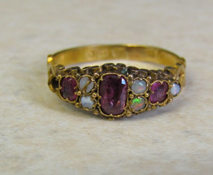 18ct gold opal and amethyst ring Birmingham 1922 size O/P weight 1.9 g (one opal missing, one