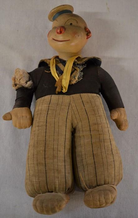 1930-50's bisque head sailor doll, BBC Edd The Duck toy in original box & 3 embroideredcaps - Image 2 of 4