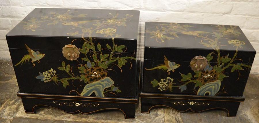 Pair of Oriental lacquer graduated chests on bases. Largest L58cm D 38cm Ht 44cm