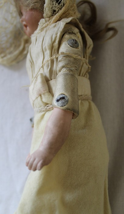 Armand Marseille bisque head doll marked AM-8 with kid leather body, bisque limbs, sleeping eyes, - Image 7 of 9