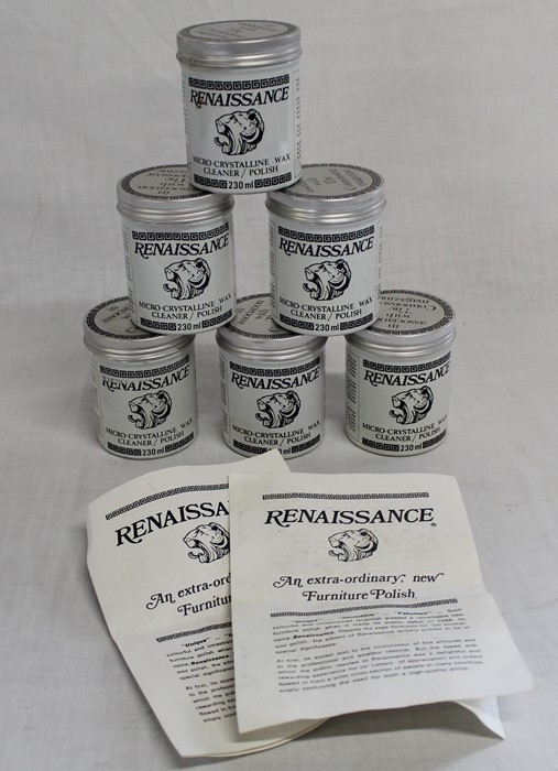 6 x 230ml tins Renaissance Micro - Crystalline wax cleaner / polish