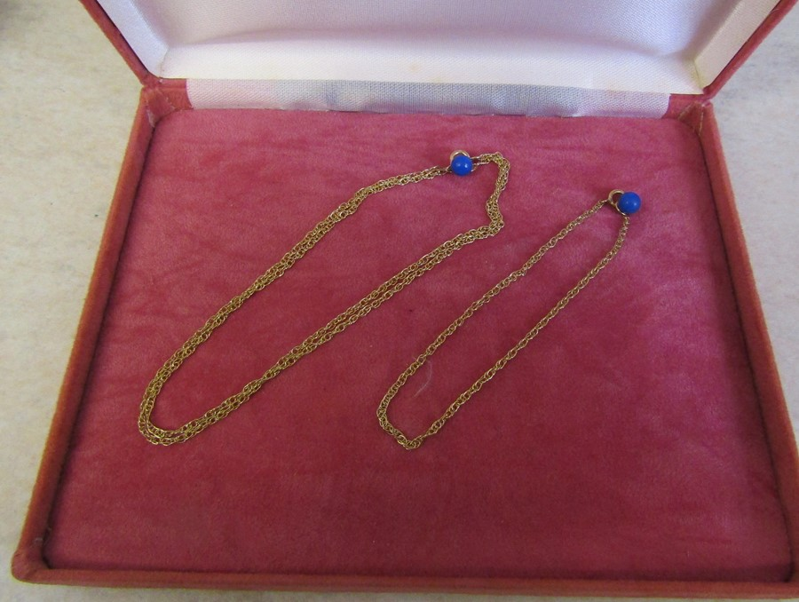9ct gold matching necklace L 45 cm and bracelet L 17.5 cm, total weight 2.2 g