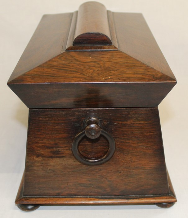 Large 19th century rosewood sarcophagus tea caddy, 33.5cm wide (damage to right handle) - Image 4 of 5
