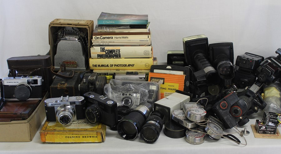 Selection of cameras, tripods, books on photography, Johnson Exactum postcard printer, Brownies,