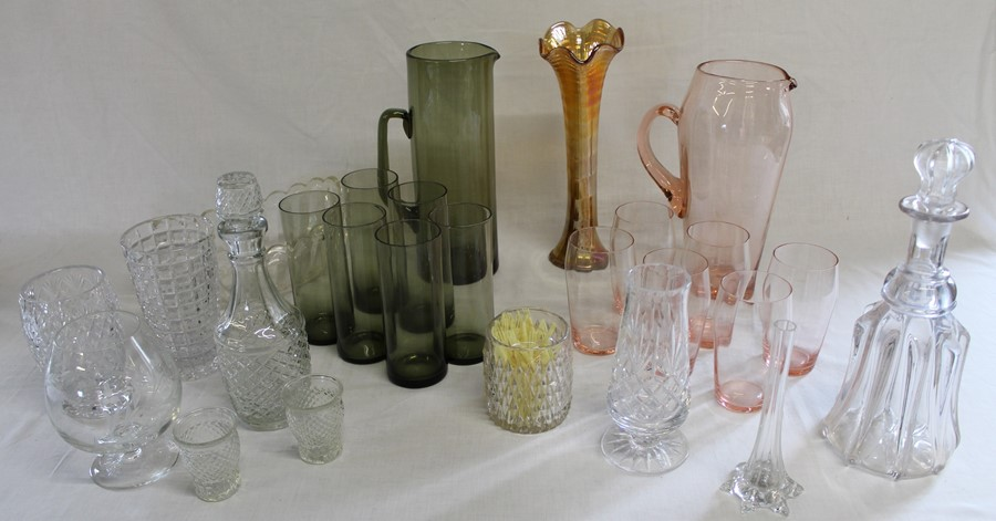 Pink / smokey glass water sets, Carnival vase, decanters etc.