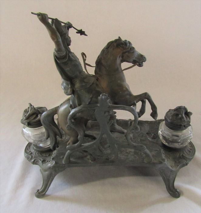 A French early 20th century spelter ink stand / desk stand of a hunting man on horseback signed A - Image 7 of 7