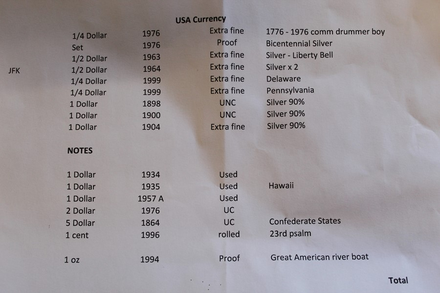Selection of USA currency including Bicentennial silver proof set 1976, silver dollar coins 1898, - Image 2 of 2