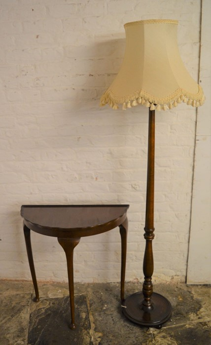 Console table & a mahogany standard lamp