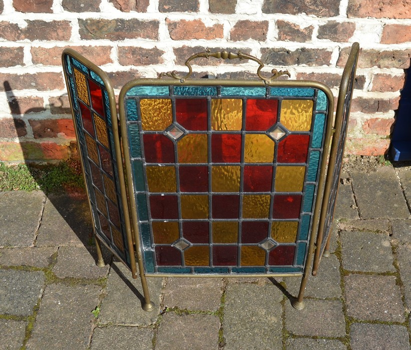 Brass and leaded glass fire screen - Image 2 of 2