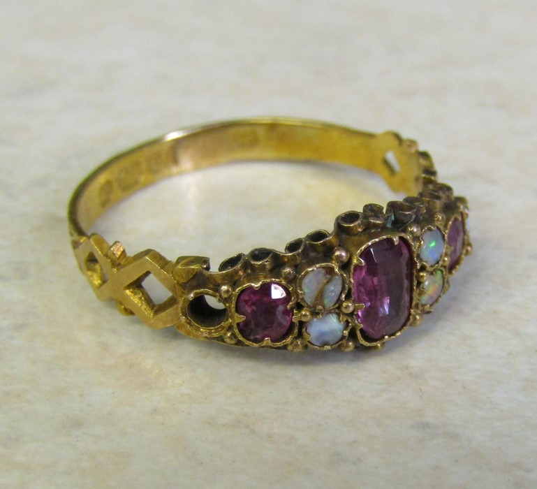18ct gold opal and amethyst ring Birmingham 1922 size O/P weight 1.9 g (one opal missing, one - Image 2 of 5