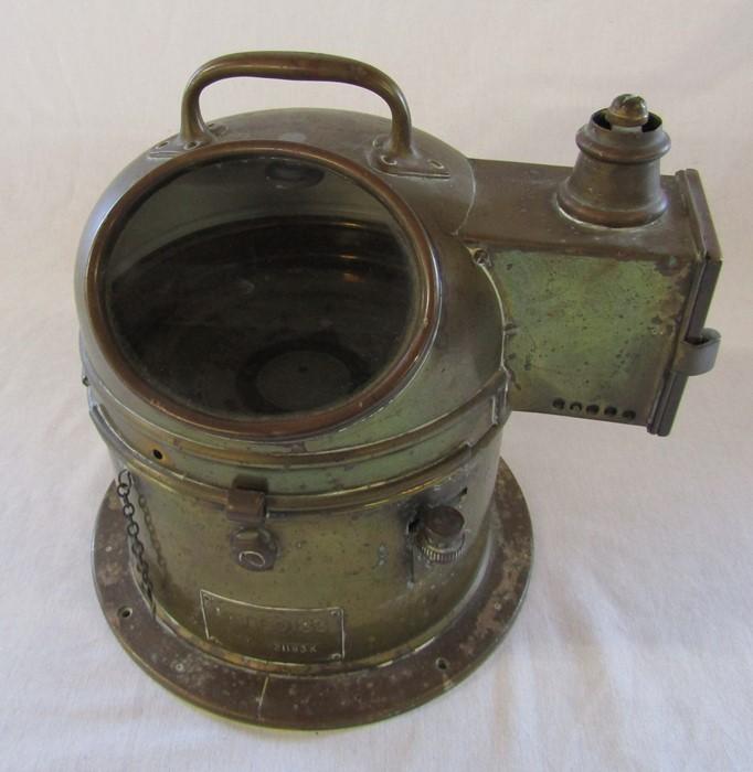 A brass ship's binnacle with spirit lamp PATT.0183 no 21183K H 26 cm - Image 7 of 7