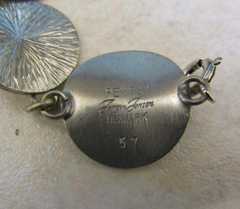Jorgen Jensen pewter pendant marked 163 with white metal chain and a Jorgen Jensen pewter bracelet - Image 3 of 3