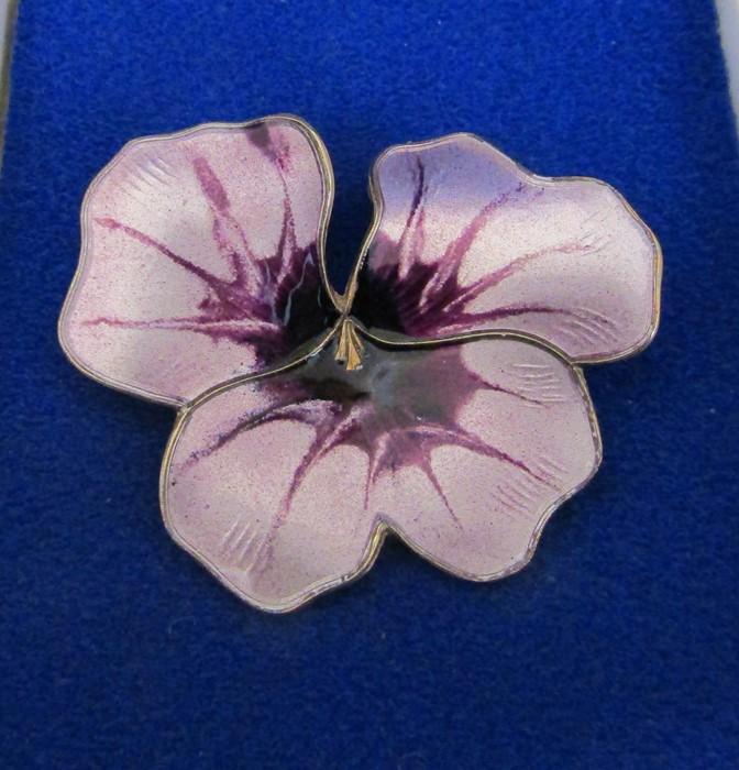David Anderson Norway silver and enamel flower brooch 11.2 g 43 mm x 38 mm