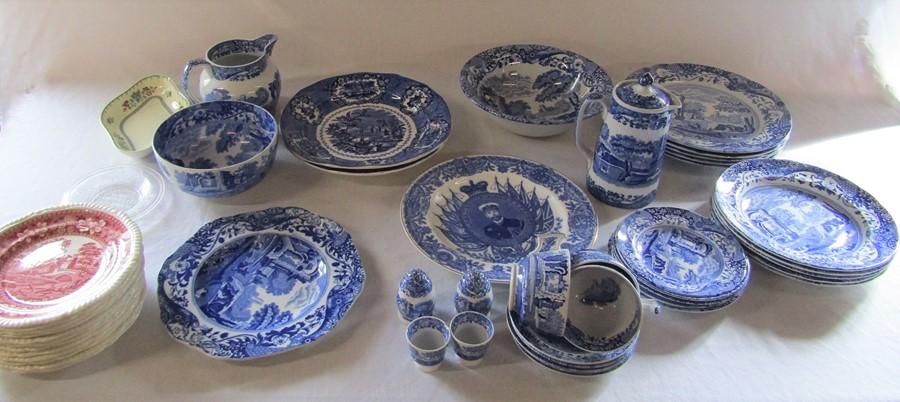 Selection of mainly blue and white ceramics inc Spode