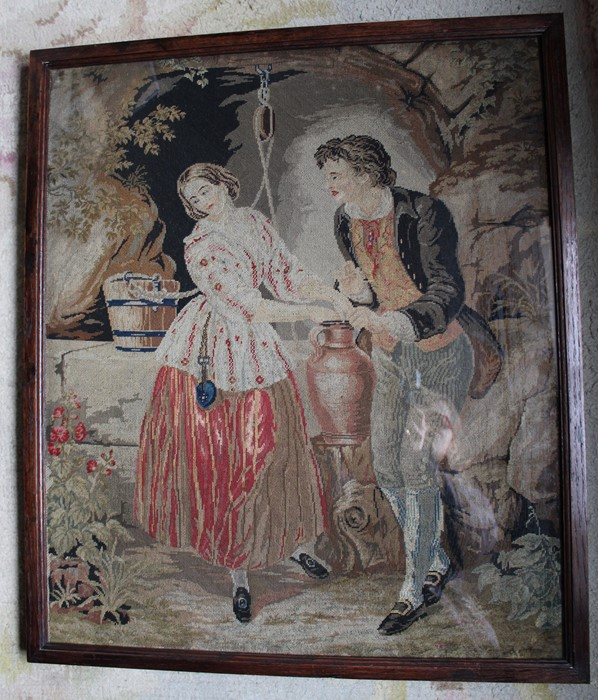 """19th century oak framed needlepoint tapestry """"The Last Appeal"""" 59cm x 68cm - Image 2 of 3"""