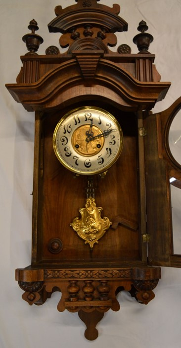 Vienna regulator wall clock with 2 train spring driven movement with butterfly decorated dial & an - Image 2 of 6
