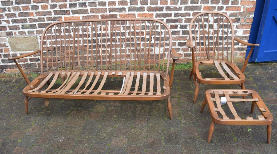 Spindle back Ercol sofa, chair and footstool all without upholstery