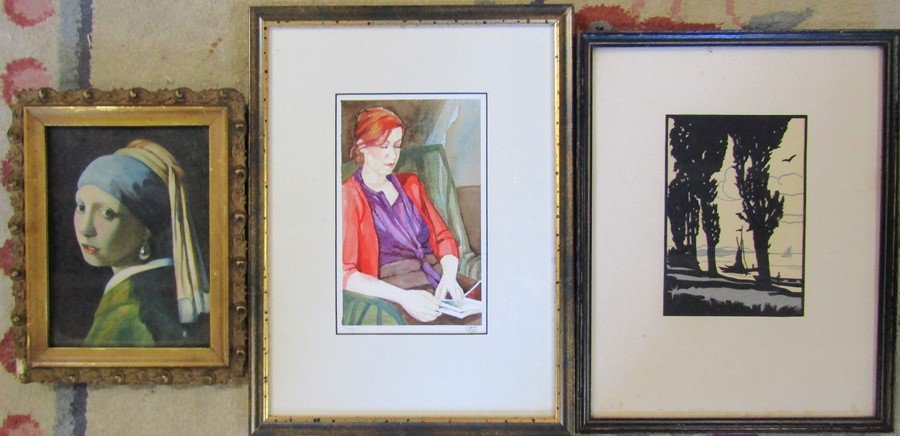 Framed watercolour 'Molly' by Linda Ingham 28 cm x 37 cm, Girl with the Pearl Earring watercolour 20