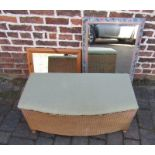Lloyd Loom ottoman and 2 mirrors