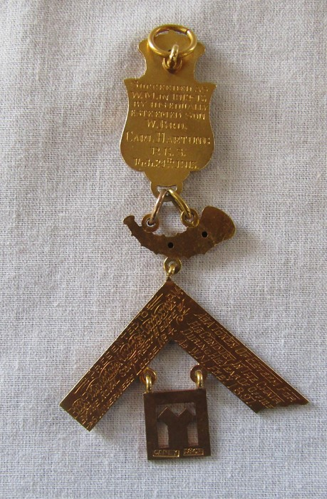 Early 20th century 18ct gold Masonic medal awarded to Frederick Morris Hartung and Carl Hartung, ( - Image 2 of 4