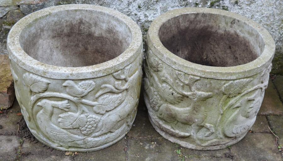 Pair of concrete planters Ht 31cm