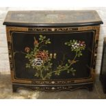 Small Oriental bow fronted lacquer cabinet with gilded decoration Ht 73cm L 81cm D 33cm