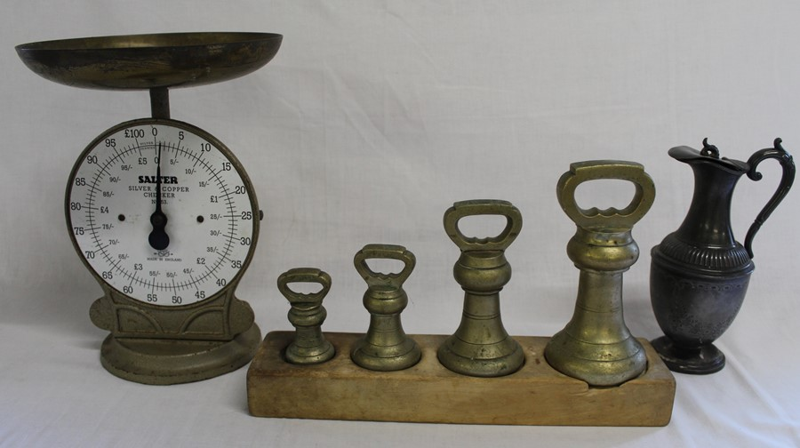 Salter silver & copper checker scales, set of 4 brass bell weights (1Ib, 2Ib, 4Ib, 7Ib) & pewter hot