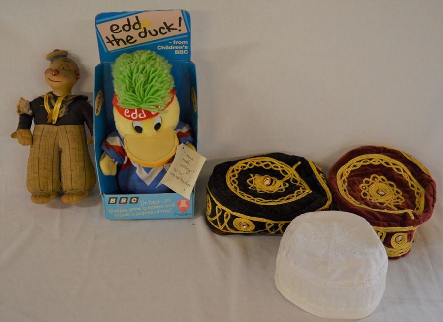 1930-50's bisque head sailor doll, BBC Edd The Duck toy in original box & 3 embroideredcaps