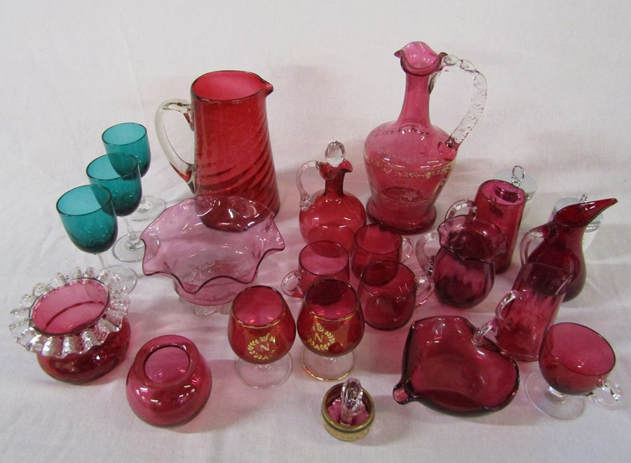 Assorted cranberry glass etc inc jugs, glasses and decanter & 2 Royal Worcester egg coddlers