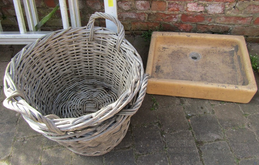 Butlers sink and 2 Lincolnshire potato baskets