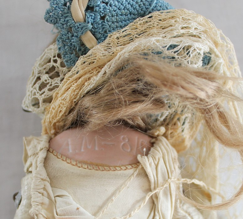 Armand Marseille bisque head doll marked AM-8 with kid leather body, bisque limbs, sleeping eyes, - Image 2 of 9