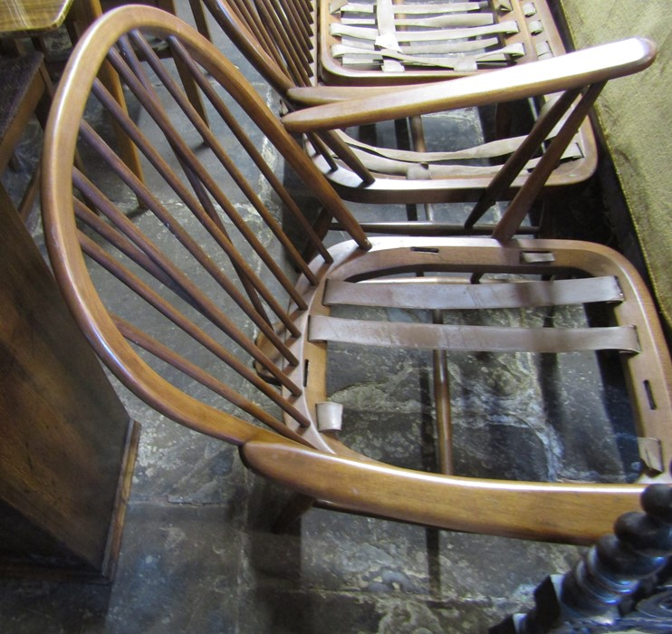 Spindle back Ercol sofa, chair and footstool all without upholstery - Image 4 of 7