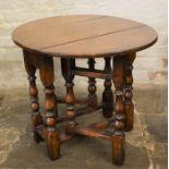 Titchmarsh & Goodwin oak miniature gateleg drop leaf table (2020 Retail Price List £1600) Ht 51cm
