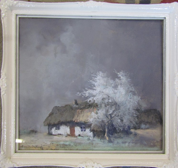 Jacques Van Den Seylbergh (1884-1960) - framed pastel and watercolour landscape signed lower right