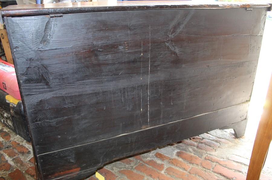Georgian oak mule chest on bracket feet L 123cm D 55cm Ht 82cm - Image 15 of 18